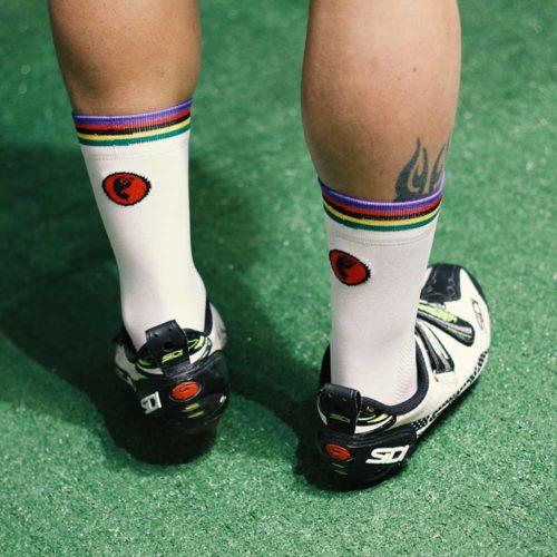Calcetines ciclismo caña alta con bandera